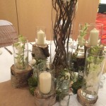 Log plinths for candles and vases